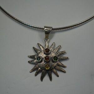 Jewelry - .925 Silver Omega Necklace W Tourmaline Sun Pend.